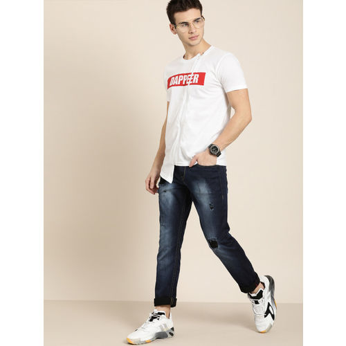 Moda Rapido Men White Printed Round Neck T-shirt With Asymmetric Hem