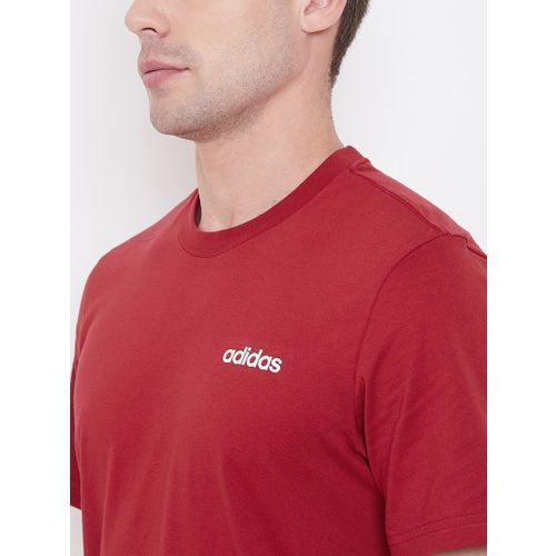 ADIDAS Men Red Solid E PLN Round Neck T-shirt