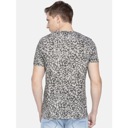 Pepe Jeans Men Black & Grey Printed Slim Fit Round Neck T-shirt