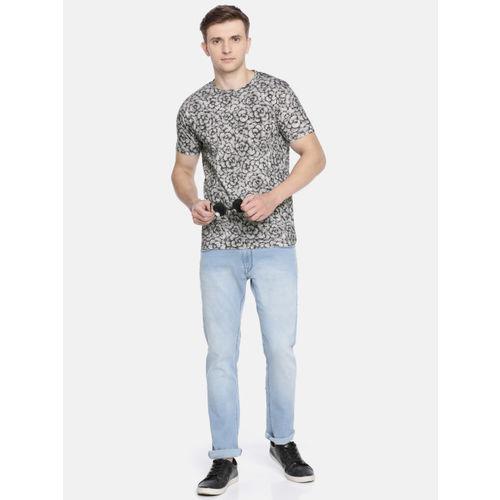 Pepe Jeans Men Black & Grey Printed Slim Fit Round Neck T-shirt