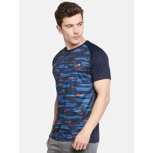 Proline Active Men Navy Blue Printed Round Neck T-shirt