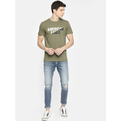 AMERICAN EAGLE OUTFITTERS Men Olive Green Printed Classic Fit Round Neck T-shirt