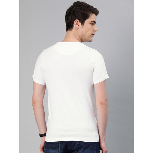 French Connection Men White Slim Fit Printed Round Neck T-shirt