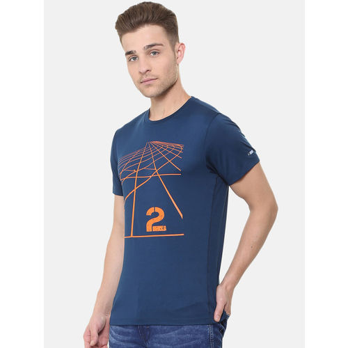 Peter England Men Blue Printed Round Neck T-shirt