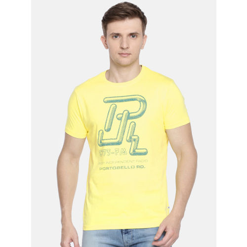 Pepe Jeans Men Yellow Slim Fit Printed Round Neck T-shirt