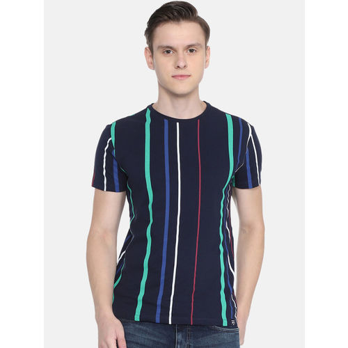 People Men Navy Blue Striped Round Neck T-shirt