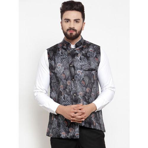 TAG 7 Men Black & White Printed Nehru Jacket