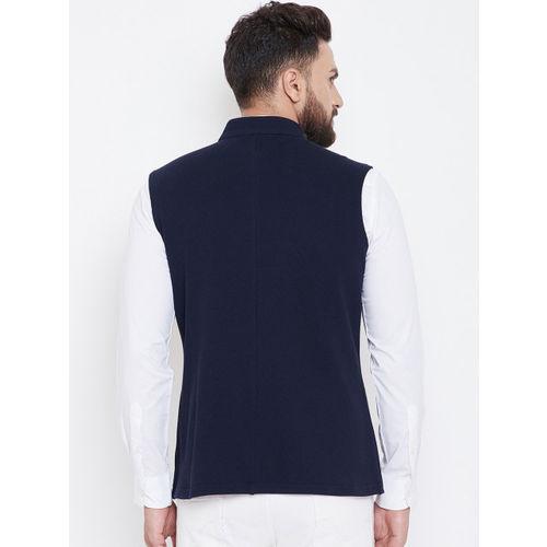 Hypernation Men Navy Blue Asymmetric Solid Pure Cotton Nehru Jacket