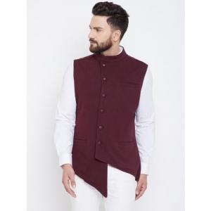 Hypernation Men Brown Solid Pure Cotton Nehru Jacket