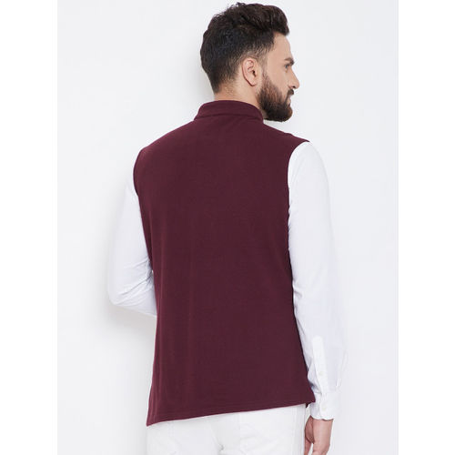 Hypernation Men Brown Solid Pure Cotton Nehru Jacket
