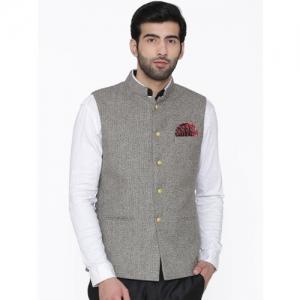 Wintage Men Grey Solid Nehru Jacket