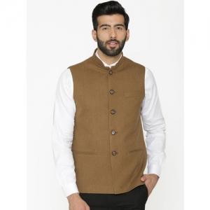 Wintage Men Khaki Woven Design Nehru Jacket