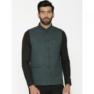 Wintage Men Green Solid Nehru Jacket