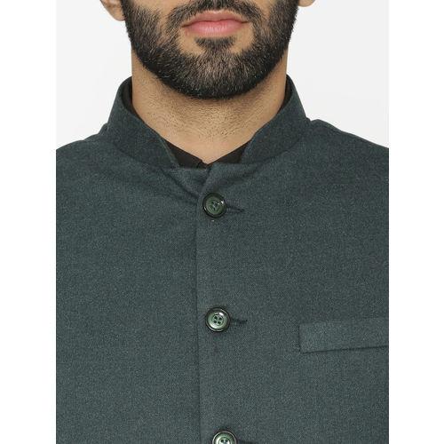 Wintage Men Green Solid Nehru Jacket