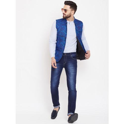 even Men Blue Printed Woven Nehru Jacket