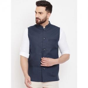 even Men Blue Solid Linen Nehru Jacket