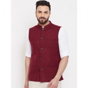even Men Maroon Solid Woven Pure Wool Nehru Jacket