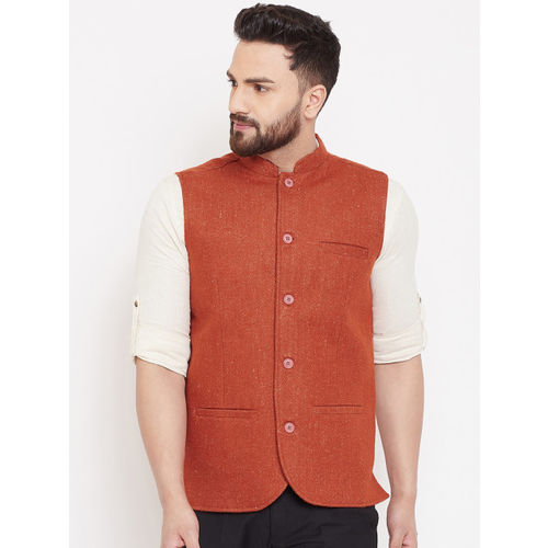 even Men Rust Brown Solid Woven Pure Wool Nehru Jacket