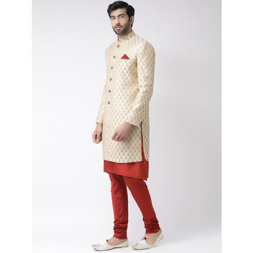 KISAH Men Cream-Coloured & Red Printed Sherwani Set