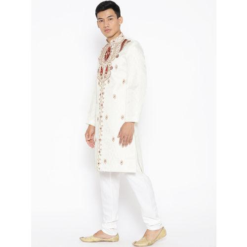 SG LEMAN  Cream&maroon polyester Embellished Sherwani