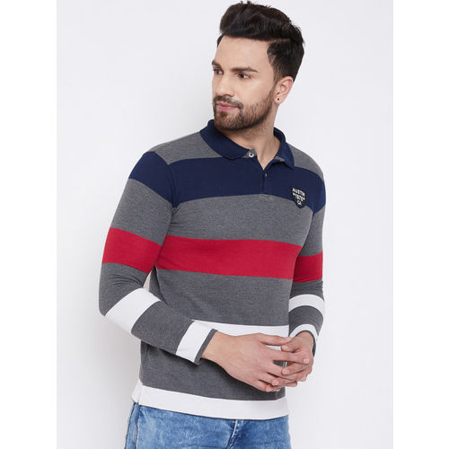 Austin wood multicolour cotton polo-collar full sleeves t-shirt