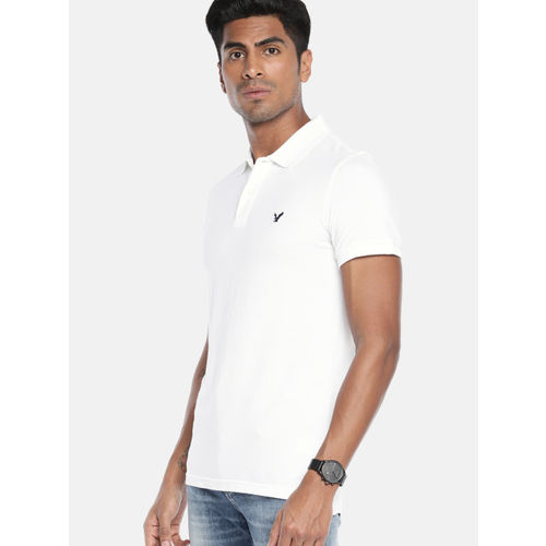 AMERICAN EAGLE OUTFITTERS Men White Slim Fit Solid Polo Collar T-shirt