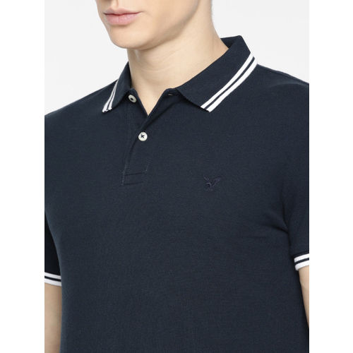 AMERICAN EAGLE OUTFITTERS Men Navy Blue Solid Slim Fit Polo Collar T-shirt