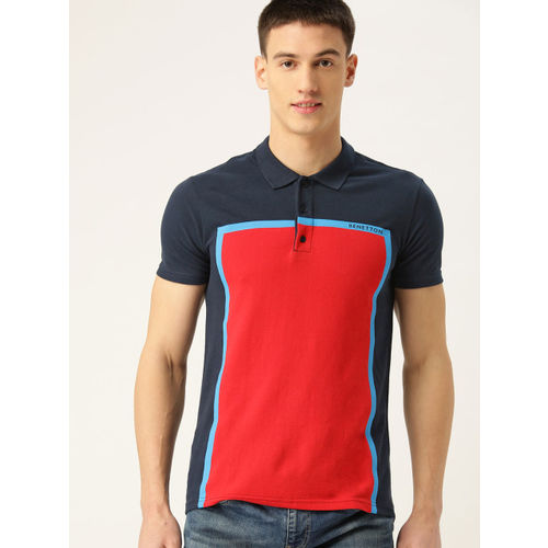 United Colors of Benetton Men Red & Navy Blue Colourblocked Polo Collar T-shirt