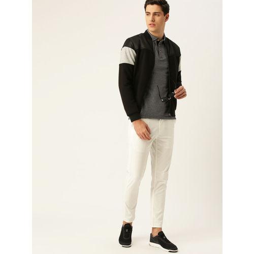 United Colors of Benetton Men Grey & Black Self-Design Polo Collar T-shirt
