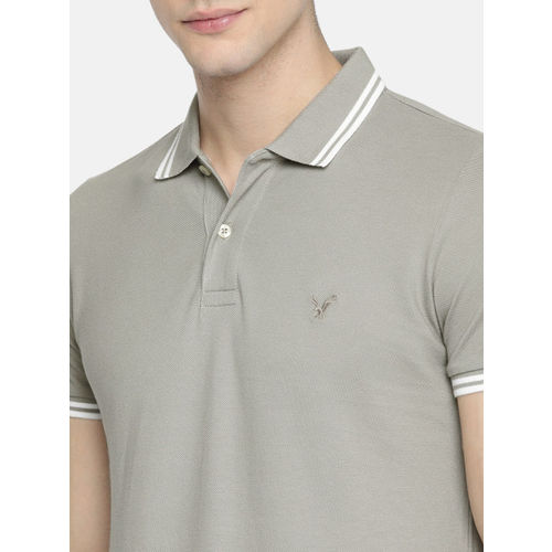 AMERICAN EAGLE OUTFITTERS Men Grey Slim Fit Solid Polo Collar T-shirt