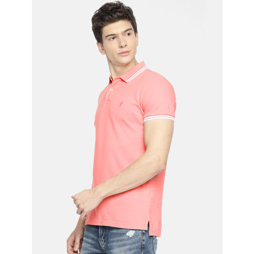 AMERICAN EAGLE OUTFITTERS Men Coral Pink Solid Slim Fit Polo Collar T-shirt
