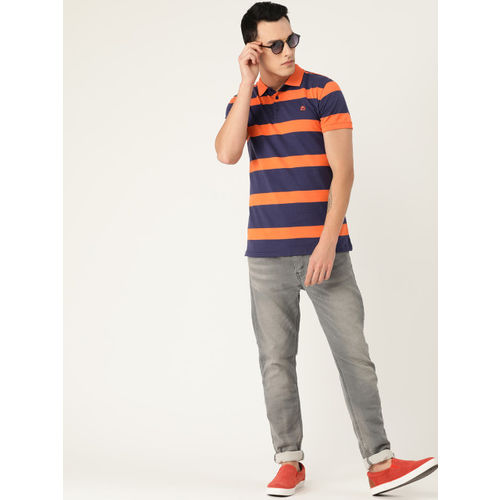 United Colors of Benetton Men Orange & Navy Blue Striped Polo Collar T-shirt