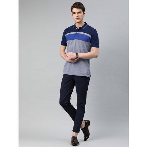 Louis Philippe Sport Men Blue Slim Fit Striped Polo Collar T-shirt