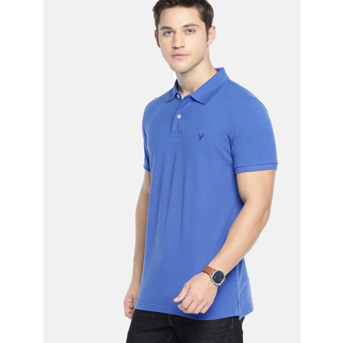 AMERICAN EAGLE OUTFITTERS Men Blue Slim Fit Solid Polo Collar T-shirt