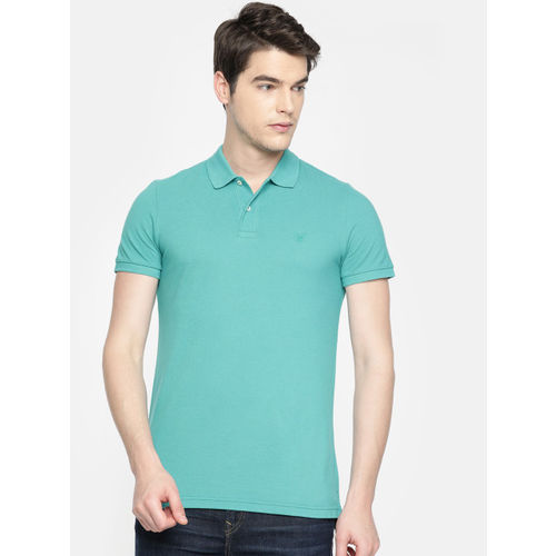 AMERICAN EAGLE OUTFITTERS Men Turquoise Blue Solid Slim Fit Polo Collar T-shirt