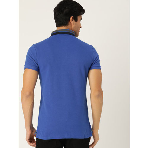 United Colors of Benetton Men Blue Solid Polo Collar T-shirt