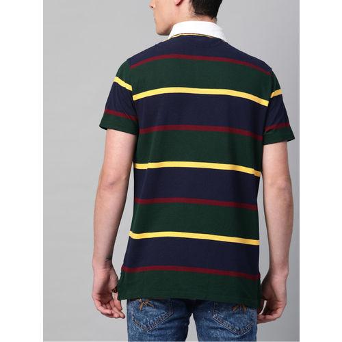 Polo Ralph Lauren Men Green & Navy Blue Custom Slim Fit Bear Rugby Striped T-shirt