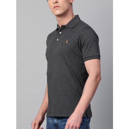 Polo Ralph Lauren Men Charcoal Grey Solid Slim Fit T-shirt