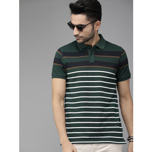 Roadster Men Green & White Striped Polo Collar T-shirt