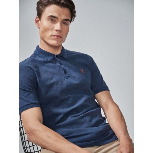 next Men Navy Blue Solid Polo Collar T-shirt