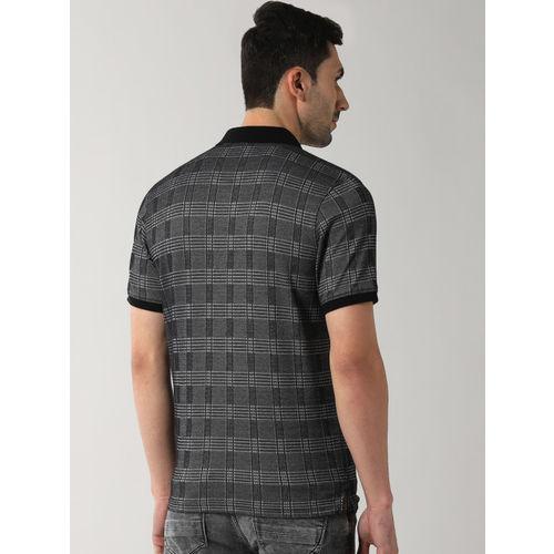 Peter England Casuals Men Grey Checked Polo Collar T-shirt