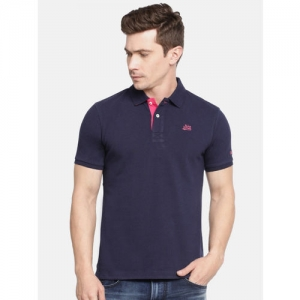 Being Human Clothing Men Navy Blue Solid Polo Collar T-shirt