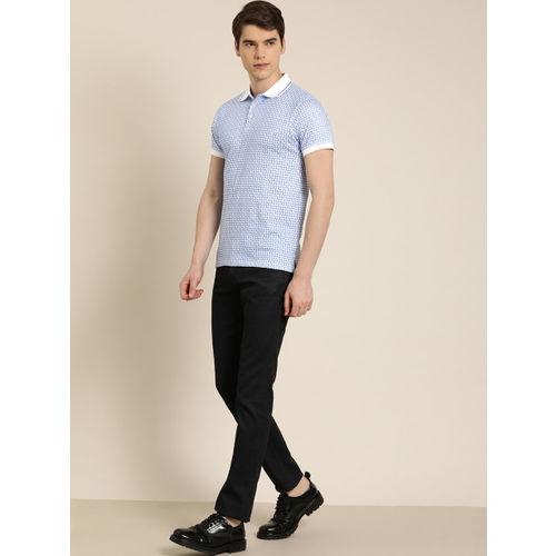 INVICTUS Men White & Blue Slim Fit Printed Polo Collar T-shirt