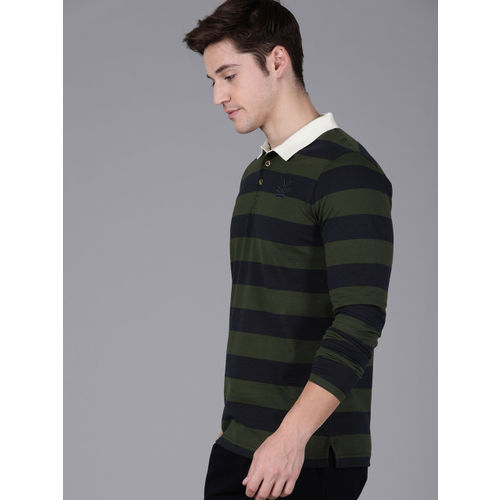 WROGN Men Olive Green & Navy Blue Striped Polo Collar T-shirt