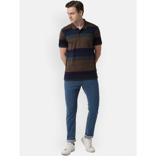 Peter England Casuals Men Brown Striped Polo Collar T-shirt