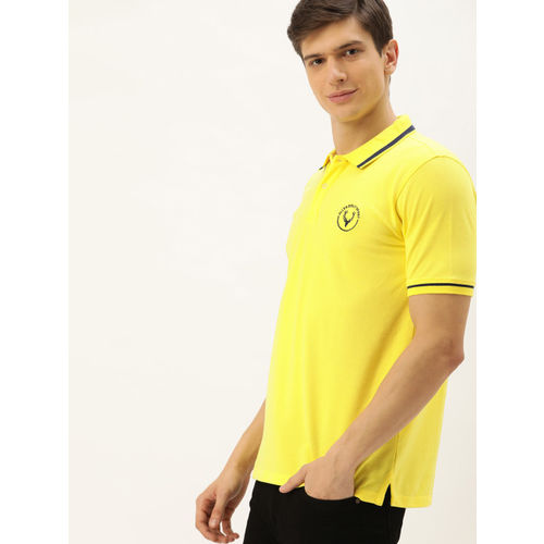 Allen Solly Sport Men Yellow Solid Polo Collar T-shirt