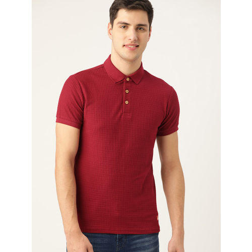 United Colors of Benetton Men Maroon Self-Checked Polo Collar T-shirt