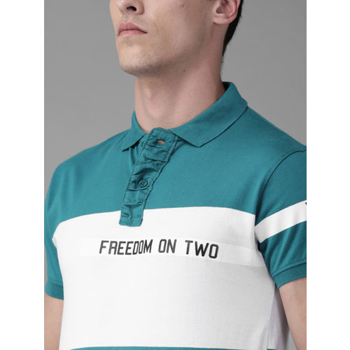 Roadster Men Teal Blue Colourblocked Polo Collar T-shirt