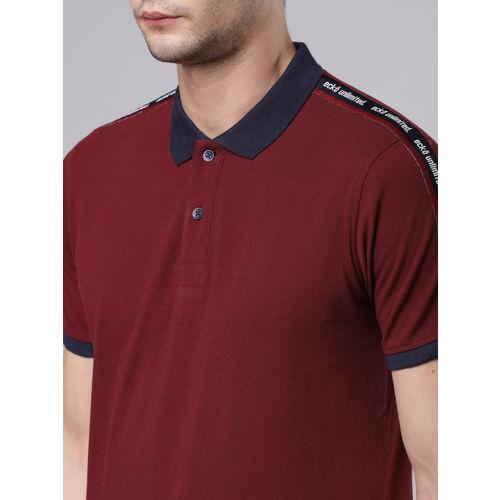 Ecko Unltd Men Maroon Printed Polo Collar Slim Fit T-shirt
