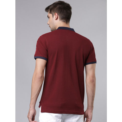 Ecko Unltd Men Maroon Printed Polo Collar Slim Fit T-shirt